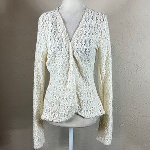 BKE Boutique NWT cream lace open cardigan Medium